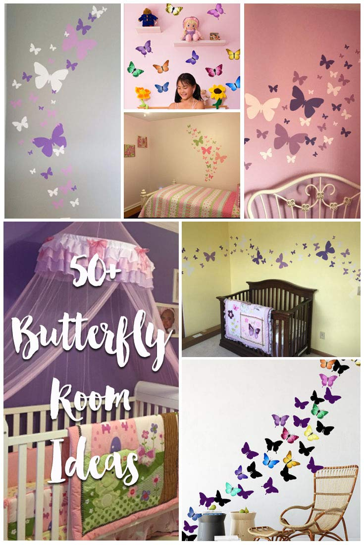 Butterfly Wall Decals- Girls Wall Stickers ~ Decorative Peel & Stick Wall Art Sticker Decals (Lilic,Lavender,White) by Create-A-Mural (Image #9)