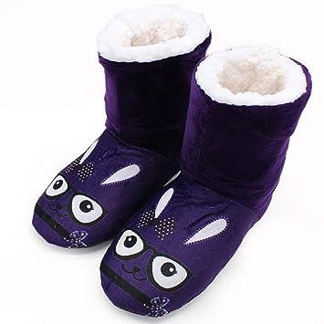 KOMEISHO Conejos Lindos Diseño de impresión Zapatilla Interior Zapatillas Botines Inicio Botas de Invierno Casa cálida Botines para Mujeres Damas Chicas ...