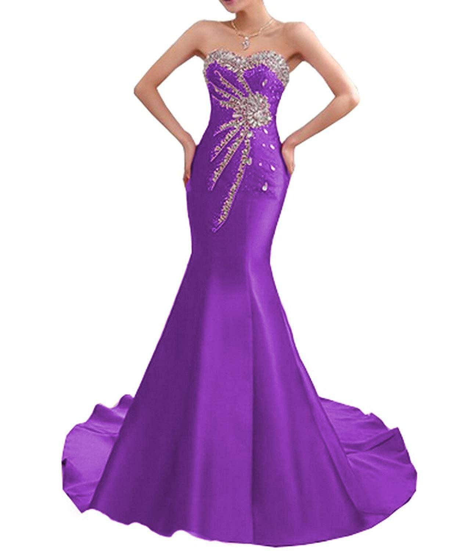 SDRESS Womens Strapless Mermaid Evening Dress Beaded Rhinestones Stain Formal Prom Dress