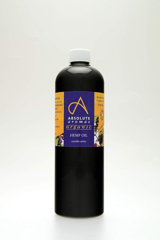 Absolute Aromas Aceite Orgánico de Semillas de Cáñamo - Puro, Natural, Prensado en Frío, Vegano y Sin Crueldad Animal - Aceite Humectante para el Rostro, Cabello y Piel (500ml)