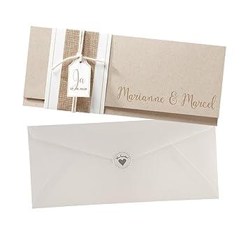 Vintage Einladungskarten Kimberly Für Die Hochzeit, Aus Kraftpapier Mit  Leinen Band   Blanko Hochzeitseinladung
