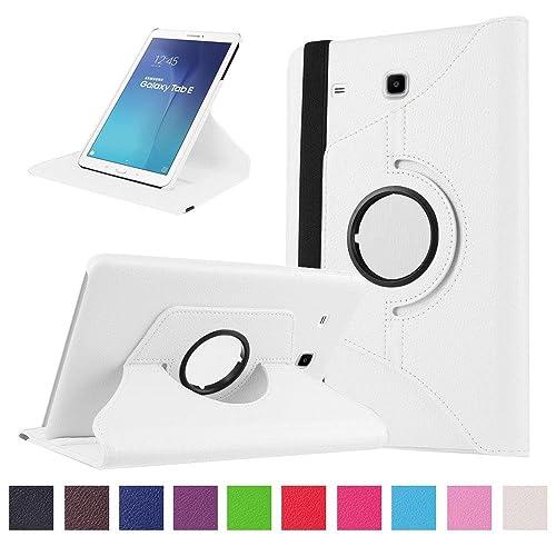 Coque Tablette Galaxy Tab E 9.6 - 360 degrés Rotation Coque en Cuir pour Samsung Galaxy Tab E 9.6 Pouces SM-T560 / T561 Tablette Housse de protection Etui avec la fonction de stand Case/Cover (Blanc)