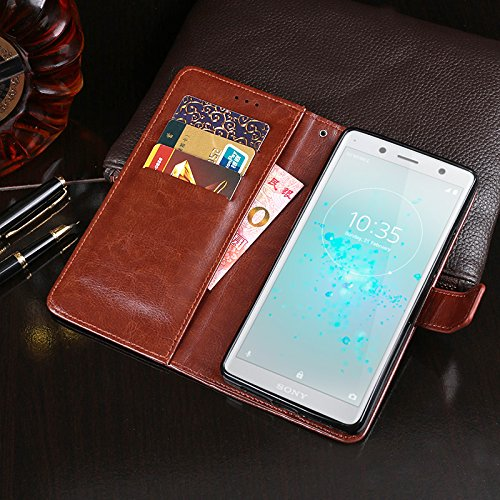 COQUE Caja del teléfono de Sony Xperia XZ2 Compact, billetera del tirón del cuero de imitación del estilo del libro con la caja de la ranura para tarjeta para Sony Xperia XZ2 Compact(Rojo) Amarillo