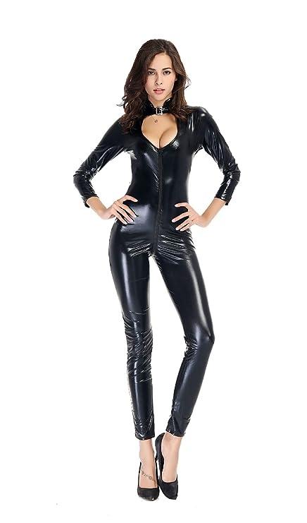 FUNFSEX Mono de Catwoman Cuero de PU Catwoman Catsuit ...