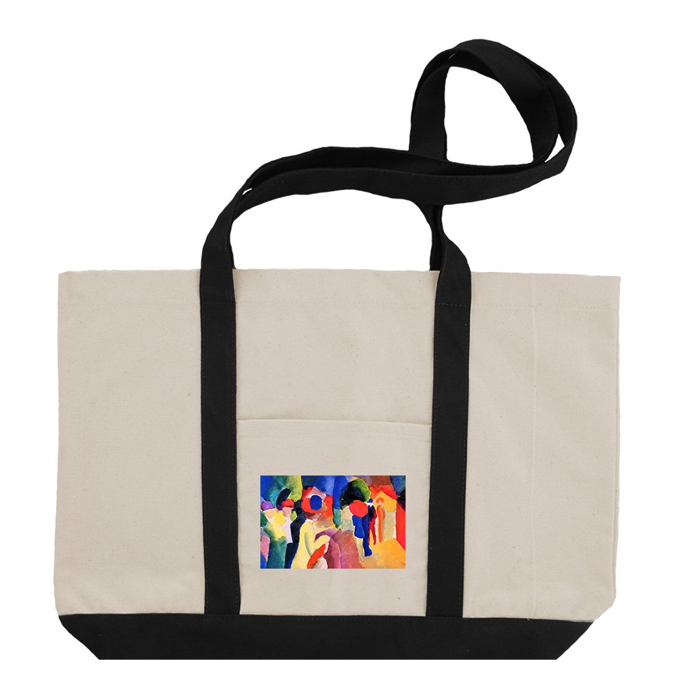 With Yellow Jacket (August Macke) Cotton Canvas Boat Tote Bag Tote - Black by Style in Print
