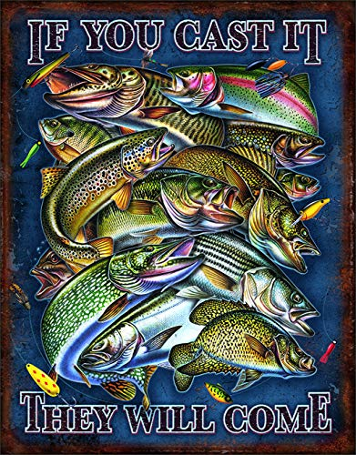 Desperate Enterprises If You Cast It They Will Come - Fishing Tin Sign, 12.5