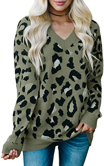 Tutorutor Womens Leopard Sweater Tops Oversized V Neck Cheetah Animal Print Loose Fit Knitted Winter Pullover Jumper