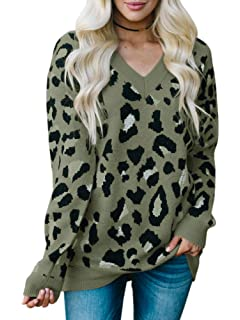 88b12f0a806cd Karlywindow Womens Leopard Print Sweaters Long Sleeve V Neck Knitted  Stylish Pullover