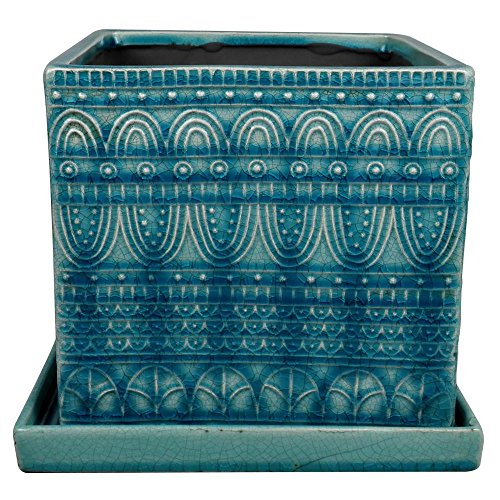 Trendspot 8 in. Dia Blue Ceramic Seven Seas Square Pot
