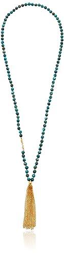 Satya Jewelry Words of Wisdom Turquoise Gold Plate Karma Chain Tassel Mala Strand Necklace, 32&q...