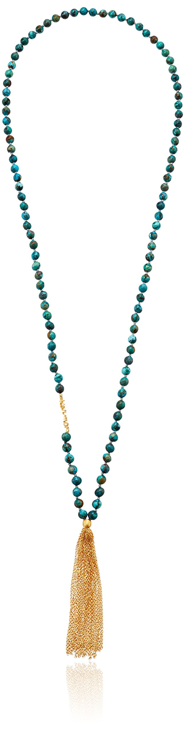 Satya Jewelry Words of Wisdom Turquoise Gold Plate Karma Chain Tassel Mala Strand Necklace, 32''