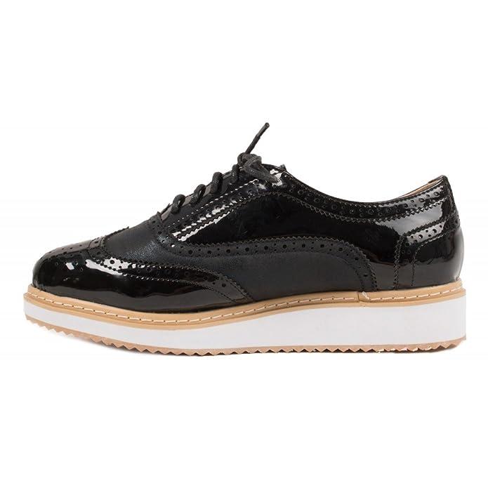 01a3105d241f6 Primtex Derbies Plateforme Femme Vernis Noir   suédine en Simili Cuir Forme  compensée-41  Amazon.fr  Chaussures et Sacs