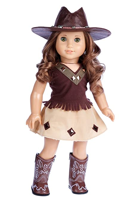 fdf928eca DreamWorld Collections - Cowgirl - 4 Piece Outfit - Cowgirl Hat, Skirt, Top  and Cowgirl Boots - Clothes Fits 18 Inch American Girl Doll (Doll Not ...