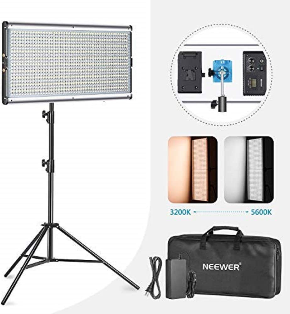 9 feet Light Stand for Studio Ultra Thin 960 LED Panel with U Bracket and Durable Metal Frame Neewer Dimmable Bi-Color 960 LED Video Light and Stand Lighting Kit YouTube Outdoor Video Photography