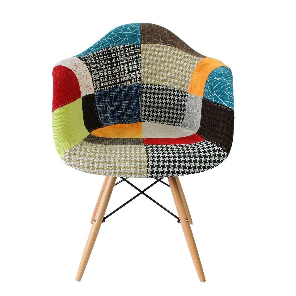 MOF Design Patchwork Chair Dining Chair or Office Chair or Occasional Chair  Beautiful Fabric Combination modern Retro Chair (WITH ARMS)