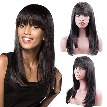 Halloween Peluca Largo Rizado Lacio Ondulado para mujeres de moda negro completo pelucas de Cabello de señoras