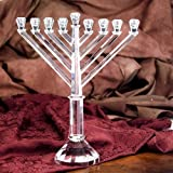 Exquisite Crystal Chanukah Rambam Menorah (Chanuka Hannukah)