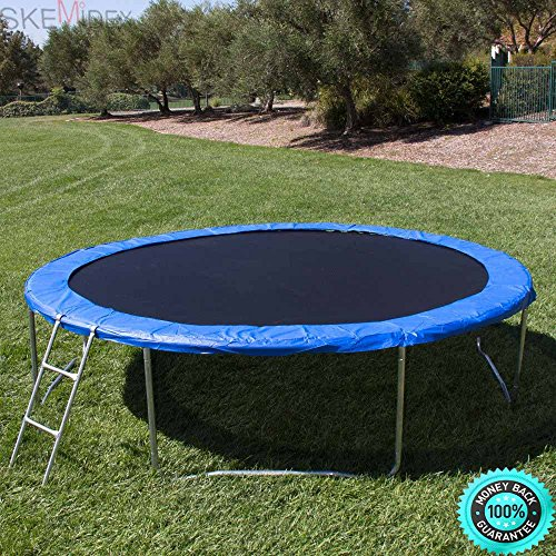 SKEMiDEX--- 12' Round Trampoline Set With Safety Enclosure, Padding & Ladder The jumping mat is heavy-duty, fade resistant, waterproof, and UV resistant for long term use The springs are coated by SKEMiDEX
