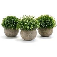 GoMaihe Plantas Artificiales Plásticas de Maceta, 3Piezas, Planta