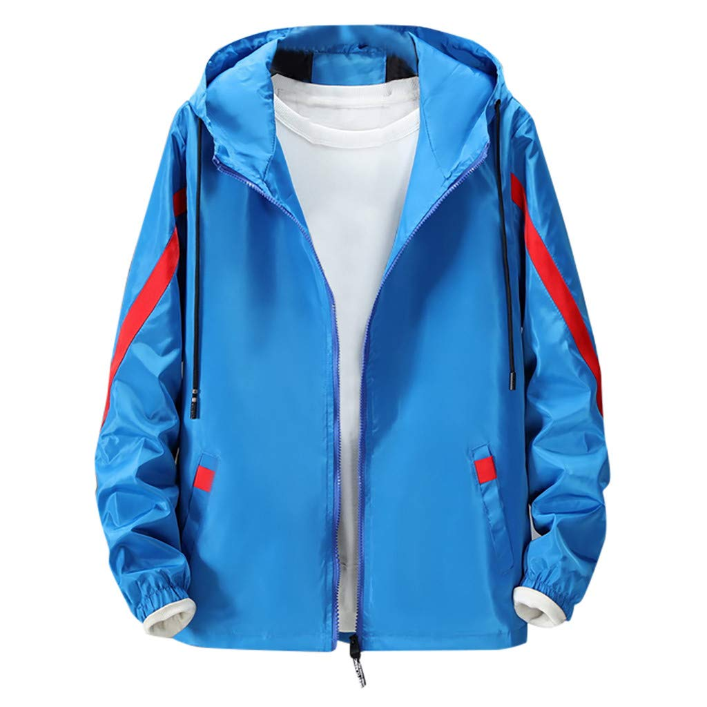 Amandaz Clothes Splicing Hooded Thin Jacket Sports Jacket Men Outdoor Outwear Coat Winter Youth Warm Pocket Windbreaker Blue by Amandaz Clothes