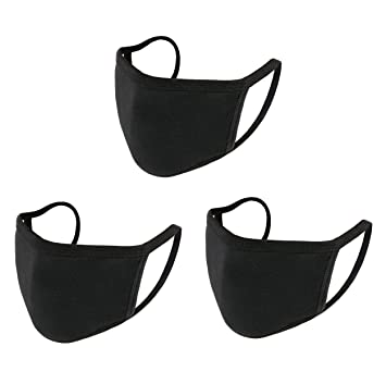 Buy Aooba 2 Pcs Protective Face Masks, Unisex Black Dust Cotton Mouth Masks,  Washable, Reusable Masks Online at Low Prices in India - Amazon.in