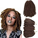 3 Pack Spring Twist Hair Crochet Braids 8 Inch Short Synthetic Braiding Hair Extension 110g/pack (8 inch, 30)