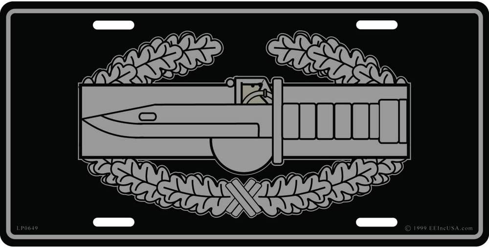 United States Army Combat Action Badge Automobile Metal License Plate Including Fastener Screws