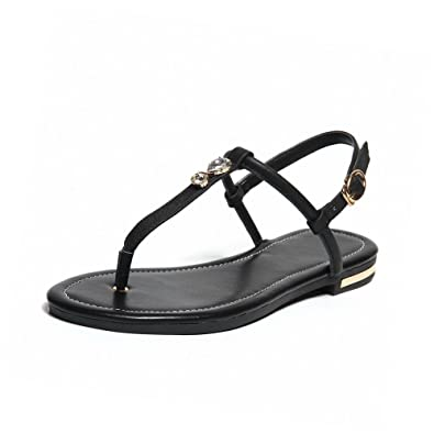 8de8079611cd VogueZone009 Women s Buckle Split Toe No Heel Cow Leather Solid Flip-Flop- Sandals
