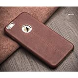 Ciro Lexza Series Double Stitch Leather Shell With Metallic Logo Display Back Cover Case For Apple iPhone 6PLUS/6S PLUS Brown