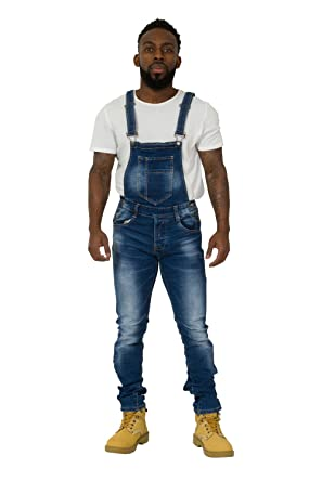 1322a0903f US Marshall Mens Denim Dungarees - Slim Fit Distressed Denim Bib Overalls  Narrow Leg GARY-30W  Amazon.co.uk  Clothing