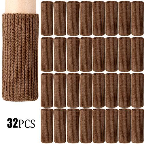 Zhehao 32 Packs Chair Leg Socks Knitted Furniture Socks Leg Floor Protectors Furniture Table Feet Covers (Brown)
