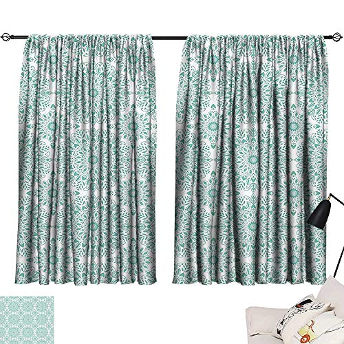 Anzhutwelve Blackout Drapes Oriental,Mandala Ethnic Oriental Image with Ivy Swirl Lace Like Detailed Artwork,Aqua and White W55 x L72 Room Darkening Curtains for Boys Bedroom