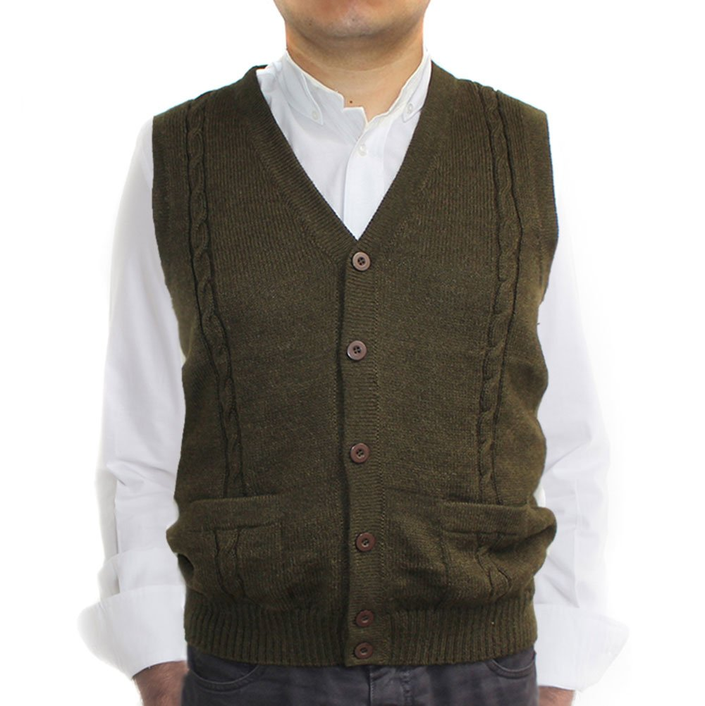 Alpaca Vest Sweater Jersey with BRIAD V Neck Buttons and Pockets Made in Peru Militar Green M