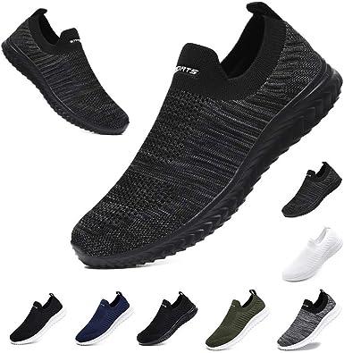 CCEO Zapatillas de malla transpirables para hombre para todas las estaciones, los mejores zapatos para caminar para hombre, resistentes al deslizamiento, ligeras, de punto, tenis y correr, Multicolor (Negro Gris), 42.5 EU: