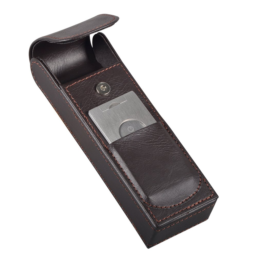 Volenx Brown Leather Travel Cigar Case Portable Humidor Sharp Cutter Set with gift box