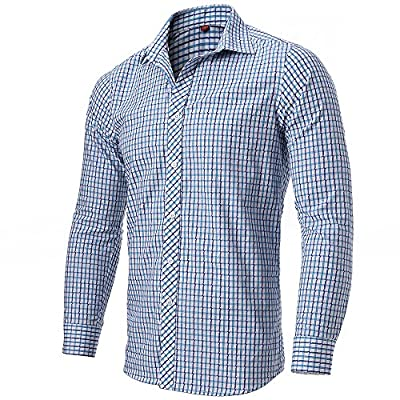 FLY HAWK Mens Plaid Dress Shirts Slim Fit 100% Cotton Casual Button Down Shirts for Wedding/Party/Business