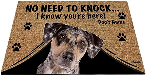 BAGEYOU Personalized Dog s Name Outdoor Doormat with My Love Dog Catahoula Welcome Floor Mat Not Need to Knock I Know You re Here 35.4 x 23.6