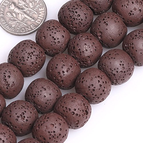 GEM-insid Brown Lava Rock Gemstone Loose Beads Natural Energy Power Beads For Jewelry Making 12mm Round15