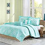 Intelligent Design Laurent Comforter Set Full/Queen Size - Aqua, Geometric – 5 Piece Bed Sets – Peach Skin Fabric Teen Bedding for Girls Bedroom