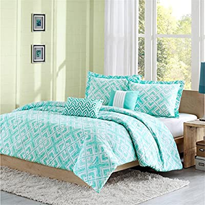 Intelligent Design Laurent Comforter Set Full/Queen Size - Aqua, Geometric – 5 Piece Bed Sets – Peach Skin Fabric Teen Bedding for Girls Bedroom - Set includes: 1 Comforter, 2 Standard Shams, 2 Decorative Pillows Comforter/Sham: 100% polyester; Filling: 200g poly fill Pillow: poly cover and poly fill Measurements: 90-by-90-inch Comforter, 20-by-26-inch Standard Shams, 16-by-16-inch Square Pillow, 12-by-18-inch Oblong Pillow - comforter-sets, bedroom-sheets-comforters, bedroom - 61elkNhVBiL. SS400  -