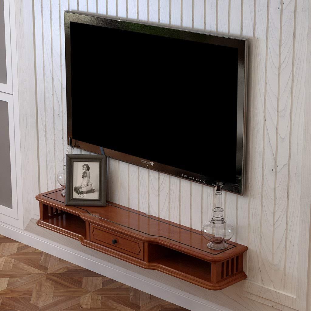 GLJJQMY DVD用ブルーレイプレーヤー、TVスタンド、衛星放送TVボックス、ケーブルボックス、TVユニット、フローティングフレーム ウォールマウントシェルフ (色 : Brown, サイズ さいず : 100cm) B07QRN4VDR Brown 100cm