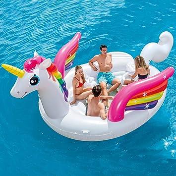Festnight Flotador Piscina Centro de Juegos Hinchable Unicorn Party Island Nevera Incorporada 503 x 335 x 173 cm: Amazon.es: Hogar