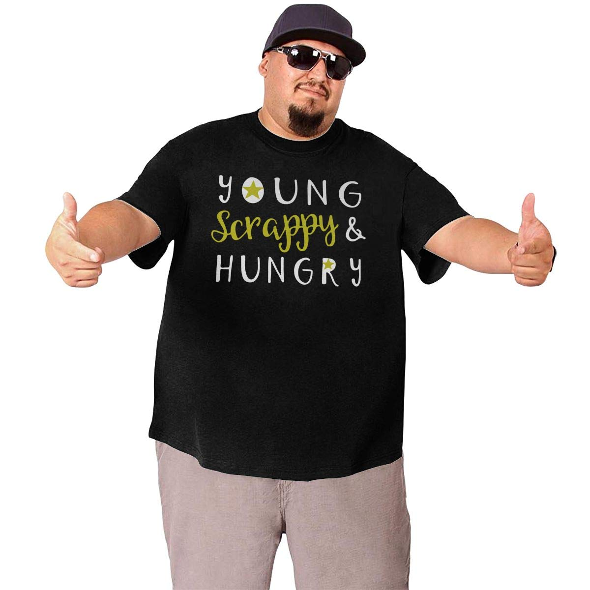 Fashion Tops Tee for Fatty Mens Big Size Young Scrappy and Hungry Round Neck Short-Sleeve T Shirts XL-6XL