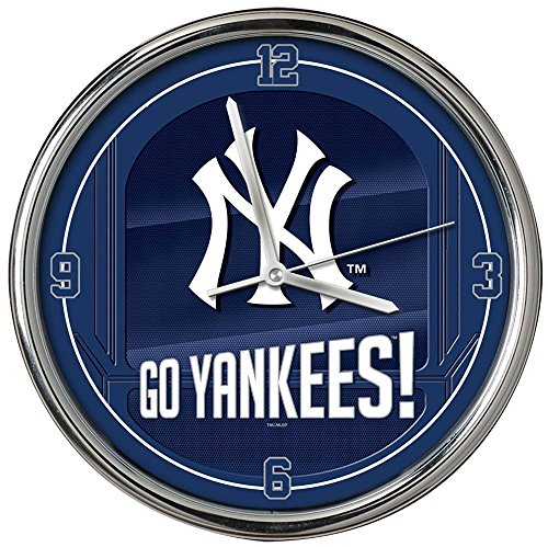The Memory Company MLB New York Yankees Go Team! Chrome Clock, One Size, Multicolor