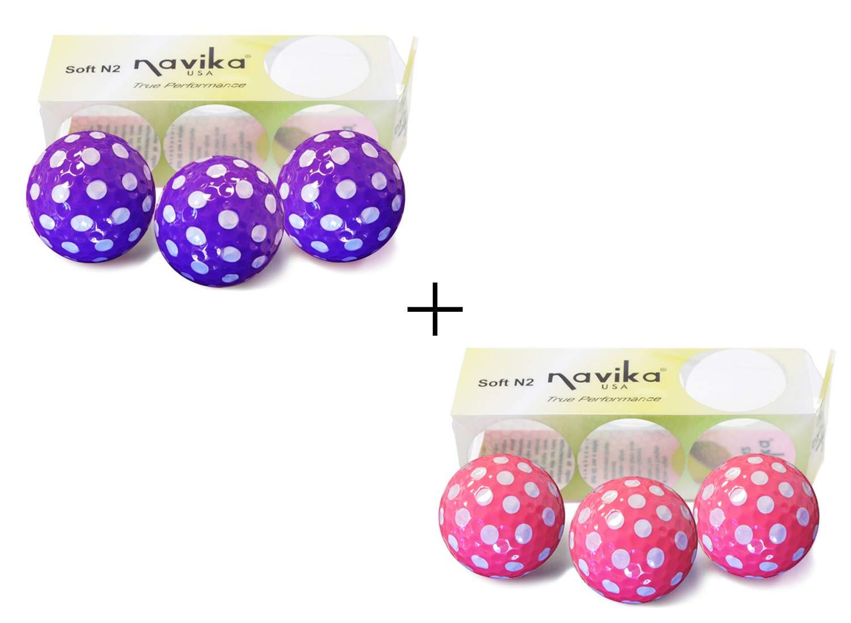 Navika Golf Balls- White Polka Dots on Pink Purple Golf Balls Combo 6-Pack