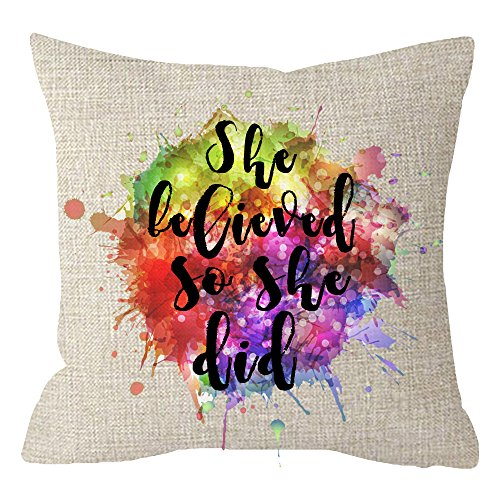 Itfro Abstract Colorful Printing Graffiti With Inspirational Quote Sayings She Believed So She Did Beige Cotton Linen Throw Pillow Case Cushion Cover Square 18 Inches Buy Online In Aruba At Aruba Desertcart Com Productid