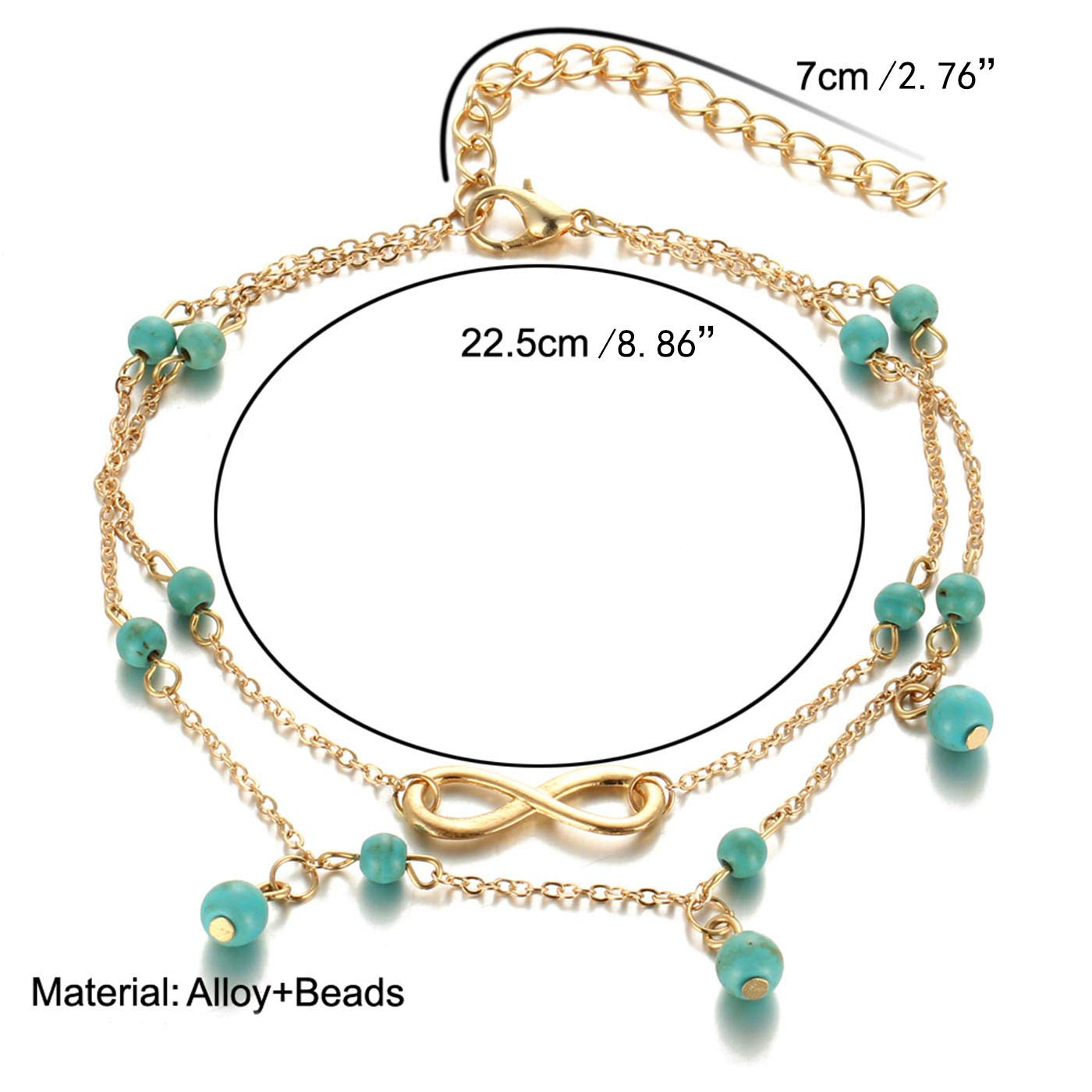 ZLY Boho Beads Sea Infinity Anklets for Women Charm Turquoise Foot Chain Gift for Mothers Day Adjustable Beach Pearl Anklet Bracelet for Girls