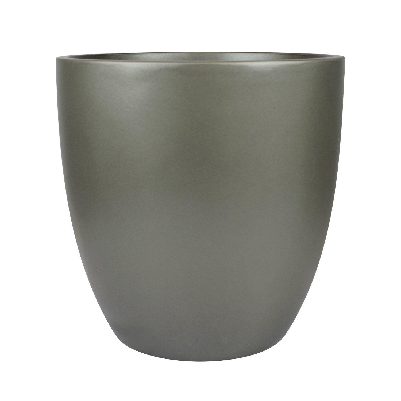 Santiago Round Cylinder Fiberglass Planter (D:18'' x H:17.75'', Metallic Grey) by The Fiberglass Depot