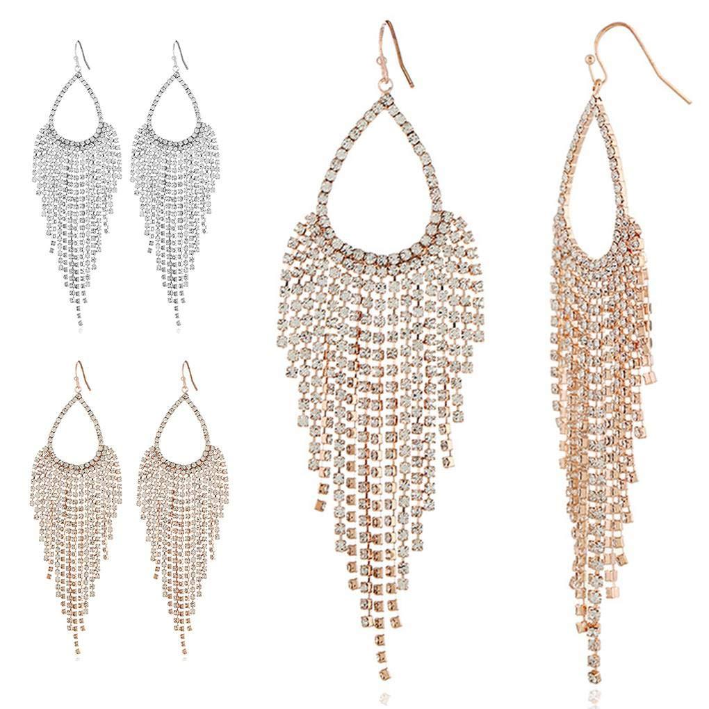 Women Elegant Sparkling Clear Full Rhinestone Waterfall Shape Pendants Dangling Long Earring Beaums
