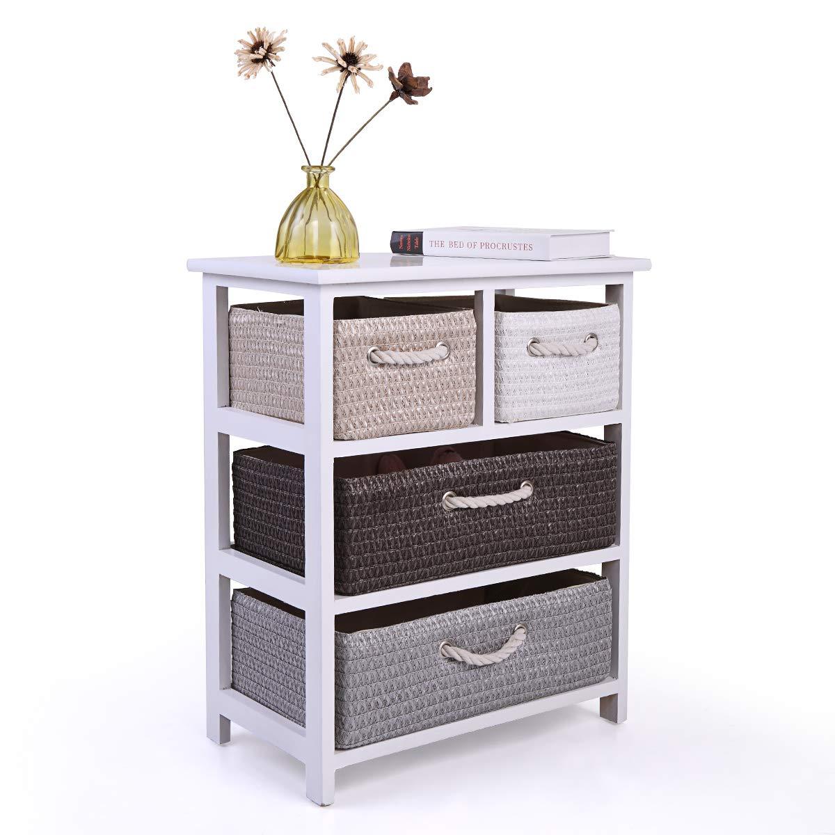 LAZYMOON White Drawer Storage Unit Wood Frame Nightstand 4 Woven Basket Rack Shelf Chest Cabinet
